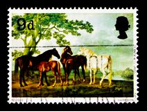 Mares and Foals Equus ferus caballus in a Landscape, Paintings serie, circa 1967 Royalty Free Stock Photography