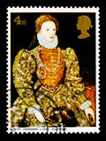 Portrait of Queen Elizabeth I, Paintings serie, circa 1968. MOSCOW, RUSSIA - OCTOBER 3, 2017: A stamp printed in Great Britain shows portrait of Queen Elizabeth Royalty Free Stock Photos