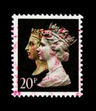 Queen Victoria and Queen Elizabeth II, 150th Anniversary of the Penny Black serie, circa 1990. MOSCOW, RUSSIA - OCTOBER 3, 2017: A stamp printed in Great Britain Stock Photos