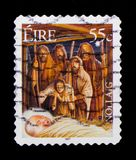 MOSCOW, RUSSIA - OCTOBER 1, 2017: A stamp printed in Ireland shows The Adoration of the Shepherds, Christmas 2007 serie, circa. 2007 royalty free stock photography