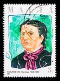 Portrait of Adelaide Cini, Maltese philanthropist sserie, circa 1986. MOSCOW, RUSSIA - OCTOBER 3, 2017: A stamp printed in Malta shows portrait of Adelaide Cini Stock Photo