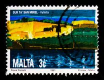 Saint Michael`s Bastion, Valetta, National Heritage of the Maltese Islands serie, circa 1991. MOSCOW, RUSSIA - OCTOBER 3, 2017: A stamp printed in Malta shows Stock Image