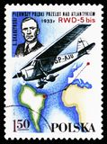S. Skarzynski, RWD-5 bis over South Atlantic, 1933, Polish Sport Planes serie, circa 1978. MOSCOW, RUSSIA - OCTOBER 6, 2018: A stamp printed in Poland shows S stock photography
