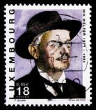 Portrait of Nik Welter 1871-1951, Great Writers serie, circa 2001. MOSCOW, RUSSIA - OCTOBER 3, 2017: A stamp printed in shows portrait of Nik Welter 1871-1951 Stock Photos