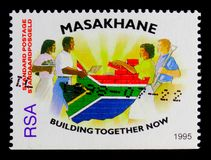 Building together now, Masakhane program serie, circa 1995 Royalty Free Stock Images