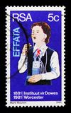Deaf girl learning to speak, Institutes for Deaf and Blind serie, circa 1981. MOSCOW, RUSSIA - OCTOBER 1, 2017: A stamp printed in South Africa shows Deaf girl stock photography