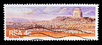 Monument to the pioneers, serie, circa 1974. MOSCOW, RUSSIA - OCTOBER 1, 2017: A stamp printed in South Africa shows Monument to the pioneers, serie, circa 1974 Royalty Free Stock Photos