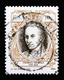 Portrait of Thomas Pringle 1789-1834, writers serie, circa 1984. MOSCOW, RUSSIA - OCTOBER 1, 2017: A stamp printed in South Africa shows Portrait of Thomas Stock Image