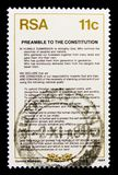 Preamble in english, New Constitution serie, circa 1984. MOSCOW, RUSSIA - OCTOBER 1, 2017: A stamp printed in South Africa shows Preamble in english, New Royalty Free Stock Photography