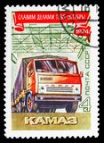 Kamaz, October revolution serie, circa 1974. MOSCOW, RUSSIA - OCTOBER 21, 2018: A stamp printed in USSR (Russia) shows Kamaz, October revolution serie, circa royalty free stock photo