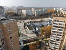 Moscow, Russia - October 20. 2018. Top view of city center Zelenograd. Moscow, Russia - October 20. 2018. Top view of a city center Zelenograd stock photo