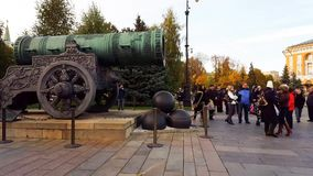 Moscow, Russia - October 09.2016. Tourists consider the Tsar Cannon in Kremlin. Moscow, Russia - October 09.2016. Tourists consider the Tsar Cannon in a Kremlin stock video