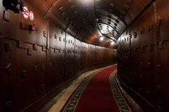 Moscow, Russia - October 25, 2017: Tunnel at Bunker-42, anti-nuclear underground facility built in 1956 as command post Stock Images