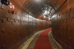 Moscow, Russia - October 25, 2017: Tunnel at Bunker-42, anti-nuclear underground facility built in 1956 as command post. Of strategic nuclear forces of Soviet royalty free stock photography