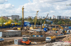 Moscow, Russia-October 01.2016. A view of construction with transport Royalty Free Stock Photography