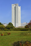MOSCOW, RUSSIA 05.28.2015 .office building in park of victory in Zelenograd Royalty Free Stock Photos