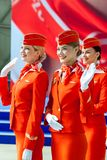 Moscow, Russia - 05/04/2018: An official event in the Moscow Sheremetyevo Airport in honor of the 95th anniversary of the Aeroflot royalty free stock photo