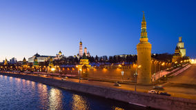 Moscow, Russia: Panorama of Kremlin in the evening Stock Photo
