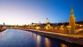 Moscow, Russia: Panorama of Kremlin in the evening Royalty Free Stock Photography