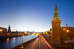 Moscow, Russia: Panorama of Kremlin in the evening Stock Photos