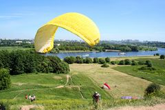 Parachuting sport in Moscow park. Landscape of Moscow. stock photo