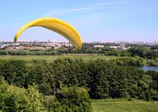 Parachuting sport in Moscow park. Landscape of Moscow. stock photography