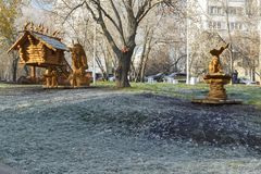 Moscow, Russia, a park with sculptures made of wood based Stock Images