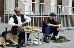 Moscow, Russia, June, 12, 2017, Participants of the festival `Times and epochs` on Manezhnaya square, the cobbler and shoe shiner. Moscow, Russia, participants stock photo