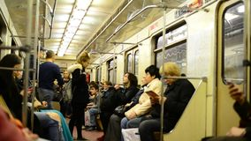 Moscow, Russia - 03.09.2015. Passengers in a subway. Moscow, Russia - 03.09.2015  Passengers in a subway train stock footage