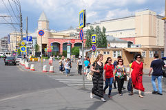 MOSCOW, RUSSIA - 15.06.2015. People in  central streets of Moscow - Garden Ring, about the underground Kursk Stock Photos