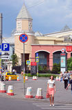 MOSCOW, RUSSIA - 15.06.2015. People in  central streets of Moscow - Garden Ring, about the underground Kursk Royalty Free Stock Photos