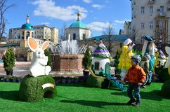 Moscow, Russia, April, 15, 2017. People are on the children`s golf course on Tverskaya square in Moscow Royalty Free Stock Photography
