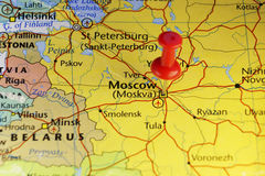 Moscow Russia pinned map Stock Photos