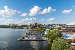 Moscow, Russia - Pleasure boats at the pier of the yacht club Shore House Stock Photos