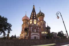 Moscow, Russia, Red Square, Cathedral of Intercession of Most Holy Theotokos on the Moat  Temple of Basil the Blessed at night Royalty Free Stock Photo