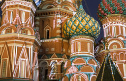 Moscow, Russia, Red Square, Cathedral of Intercession of Most Holy Theotokos on the Moat  Temple of Basil the Blessed at night Stock Photo