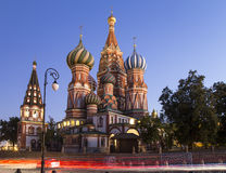 Moscow, Russia, Red Square, Cathedral of Intercession of Most Holy Theotokos on the Moat  Temple of Basil the Blessed at night Stock Image