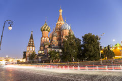 Moscow, Russia, Red Square, Cathedral of Intercession of Most Holy Theotokos on the Moat  Temple of Basil the Blessed at night Royalty Free Stock Images
