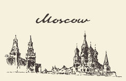 Moscow Russia Red square Kremlin drawn sketch Royalty Free Stock Photography