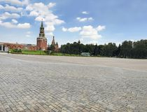 Moscow, Russia, Red Square and Kremlin towers. At summer day stock image