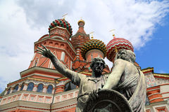 Moscow, Russia, Red Square, Temple of Basil the Blessed,   Minin and Pojarsky monument Stock Image