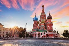 Moscow, Russia - Red square view of St. Basil`s Cathedral at sun Royalty Free Stock Image