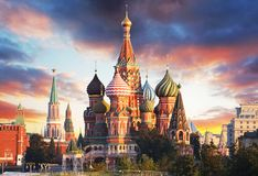 Moscow, Russia - Red square view of St. Basil`s Cathedral at sun stock photography
