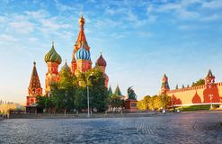 Moscow, Russia - Red square view of St. Basil`s Cathedral at sunrise, nobody stock images