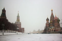 Moscow,Russia,Red square,view of St. Basil's Cathedral in winter Stock Photography