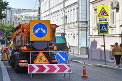 Moscow, Russia, September, 01, 2018. Repair of the road in Podkolokolny lane in Moscow