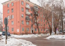 Moscow, Russia. Residential five-story brick house, built in 1950-60 years. royalty free stock images