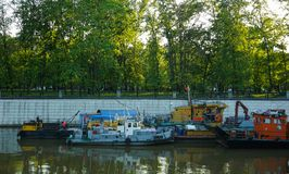Moscow, Russia, resting ship with other boats at the dock in the river stock image