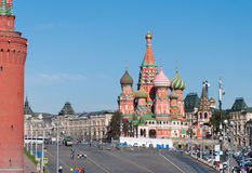 MOSCOW, RUSSIA - 21.09.2015. Saint Basil Cathedral and Vasilevsky Descent of Red Square in Moscow Kremlin, Stock Photos