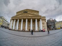 Bolshoi Theatre main entrance and Central Universal Department Store TsUM royalty free stock image